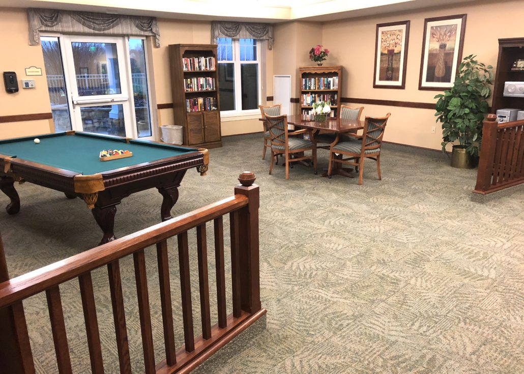 Care Center 1st Floor Lounge with Pool Table & Large Print Library