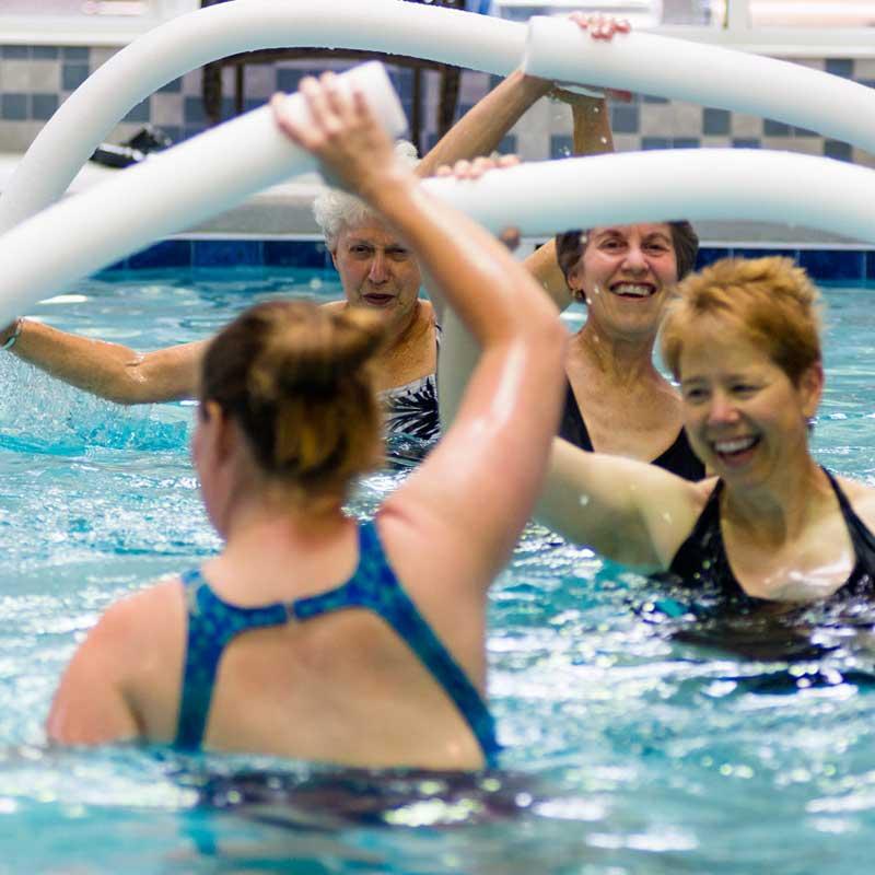 Residents enjoying aquatics class in our pool